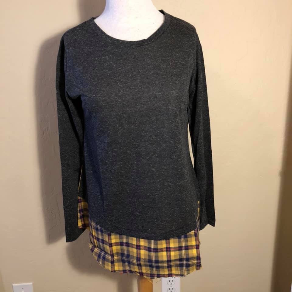 Grey and Yellow Plaid Top