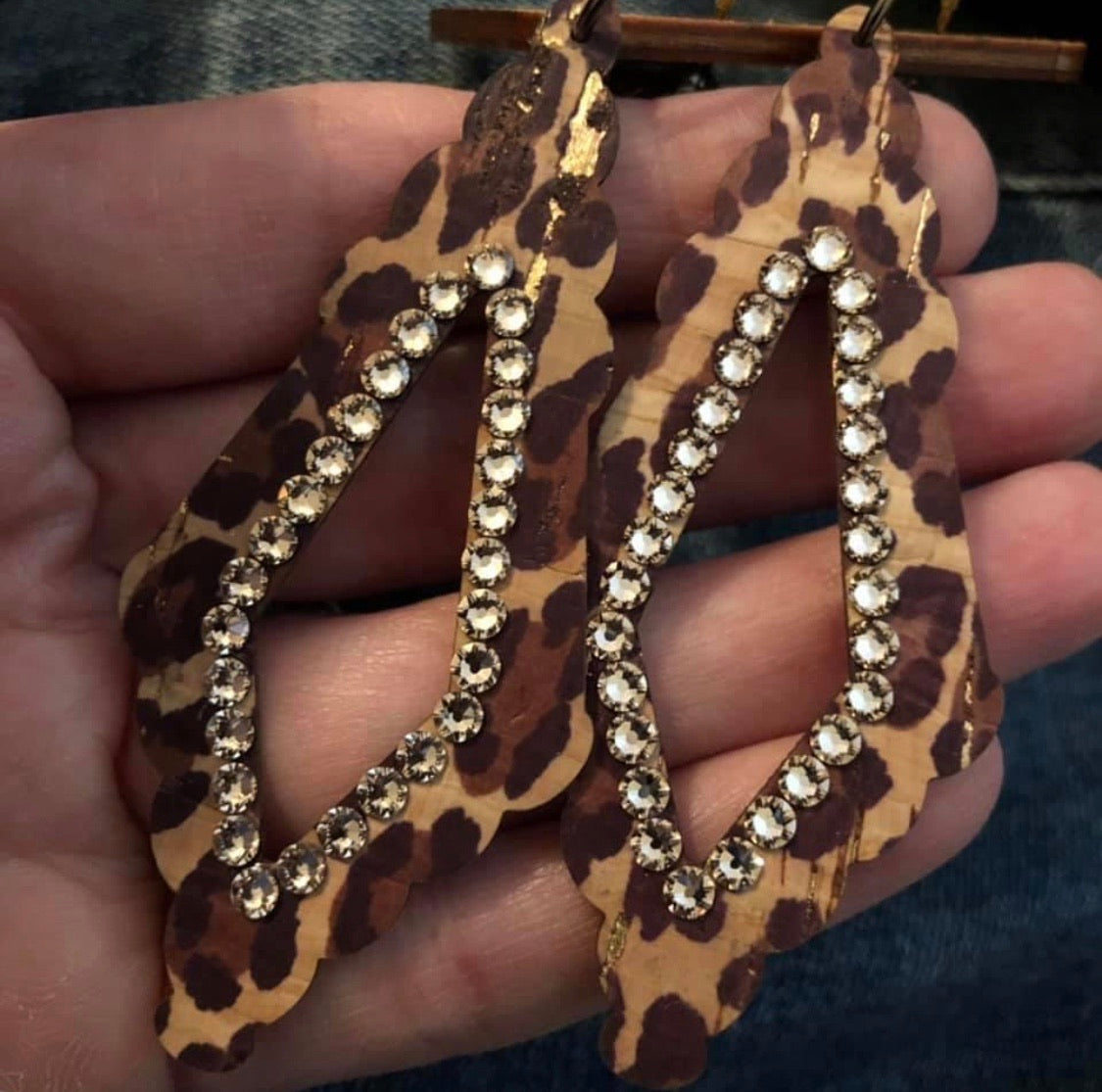 Leopard Cork Earrings with Swarovski crystals