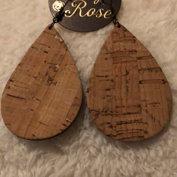 Reversible Suede Farm and Cork Drop Earrings