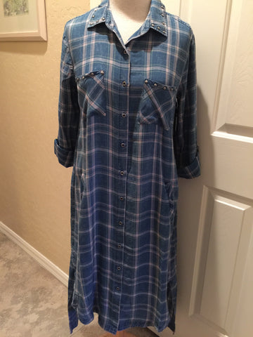 Plaid Flannel Dress with Brad Detailing
