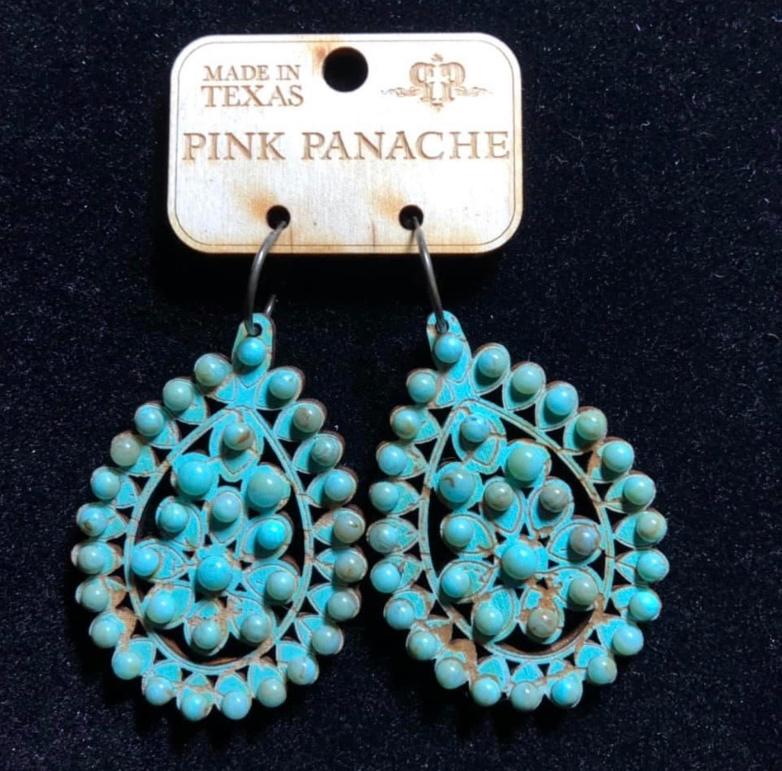 Turquoise Crackle Wood Earrings