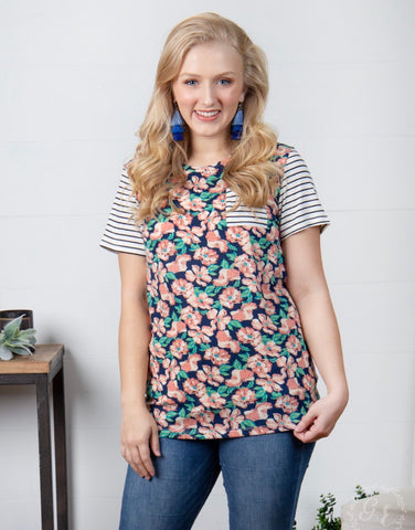 PLUS Floral n Stripes Tee
