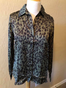 Olive Leopard Print Top
