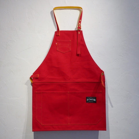 HI-CONDITION Japanese Canvas Apron Red x Sunflower Large - HITOHIRA
