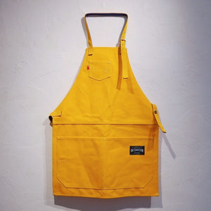 HI-CONDITION Japanese Canvas Apron Yellow x Navy Large | HITOHIRA