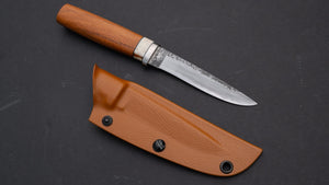Kanatoko Outdoor Work Fixed Blade Red Oak Handle | HITOHIRA