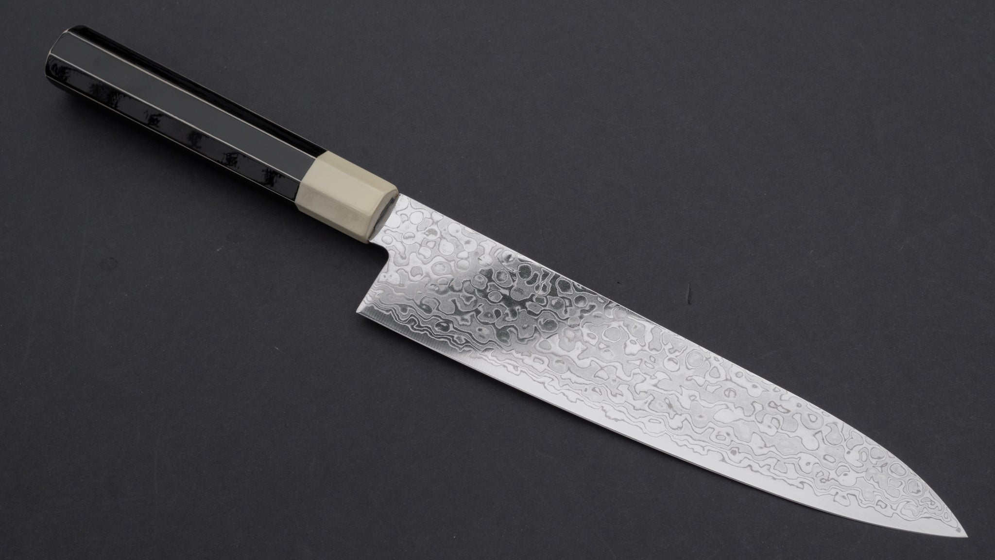 Hitohira HG Damascus Gyuto 210mm Lacquered Handle (White and Black) | HITOHIRA