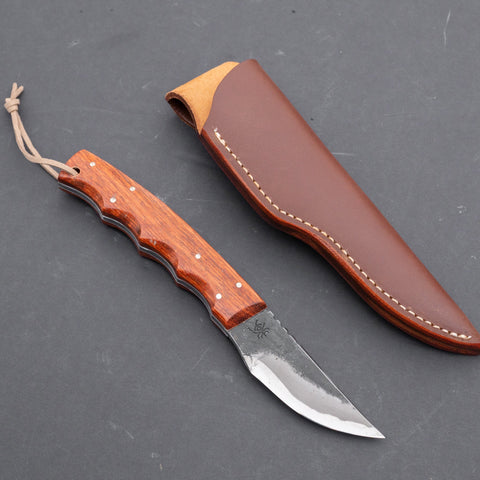 Fukuta Blue #2 Hunting Fixed Blade 70mm Rosewood Handle | HITOHIRA
