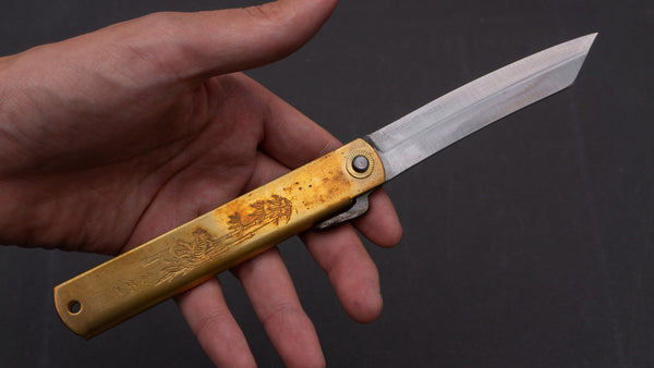 Higonokami Motosuke Folding Knife X Large Brass Handle (#08) | HITOHIRA