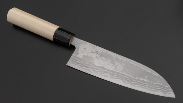 Hitohira GR Blue #2 Damascus Santoku 165mm Ho Wood Handle (B Grade Discounted) | HITOHIRA