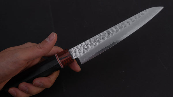 Hitohira Imojiya VG10 Tsuchime Damascus Petty 150mm Pakka Handle | HITOHIRA