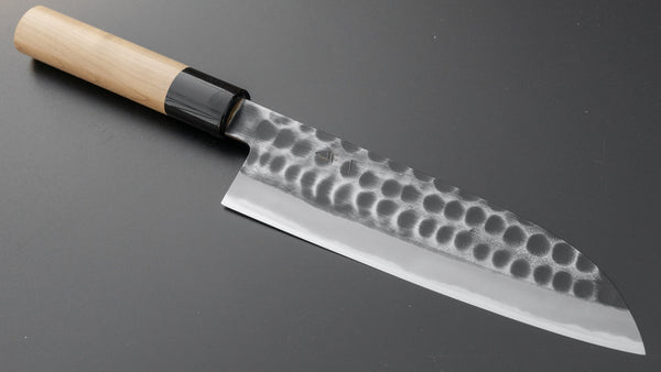 Hitohira Hinode Tsuchime White #2 Santoku 180mm Ho Wood Handle | HITOHIRA