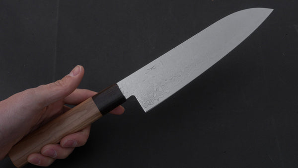 Hitohira HG Damascus Santoku 185mm Cherry Wood Handle | HITOHIRA