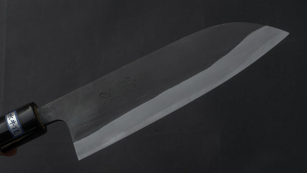 Morihei Munetsugu Blue #2 Kurouchi Santoku 165mm Ho Wood Handle | HITOHIRA