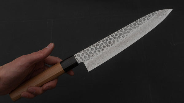 Hitohira HG Tsuchime Damascus Gyuto 210mm Cherry Wood Handle | HITOHIRA