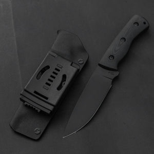 Hell Hound Bushcraft Hiker 2 Fixed Blade 115mm Linen Micarta Handle | HITOHIRA