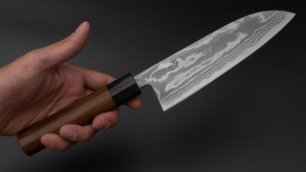 Hitohira GR Blue #2 Damascus Santoku 165mm Maple Handle | HITOHIRA