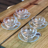 8oz Yama Tea & Coffee Glass Cups & Saucers