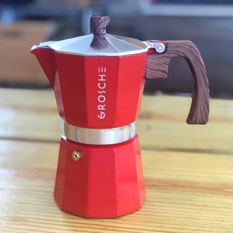 Grosche Firehouse Red MILANO Stovetop Espresso Maker