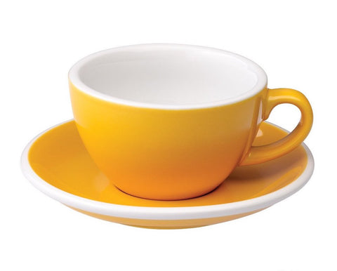 6oz Loveramics Egg Style Cup & Saucer - YELLOW