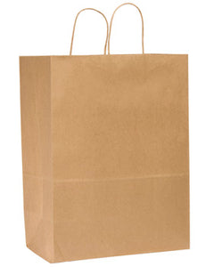 10 X 6.5 X 12 KRAFT PAPER SHOPPING BAG WITH HANDLE 250CT