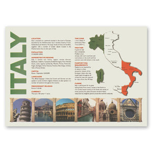 "MAP OF ITALY PLACEMAT 10-1/4"" X 14-1/2"" STRAIGHT EDGE 1000CT"