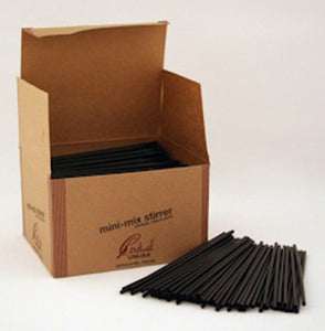 "5"" COCKTAIL SIPPER STICK SOLID BLACK 10000CT"