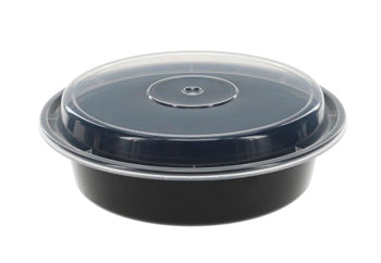 24 OZ ROUND MICROWAVEABLE CONTAINERS COMBO PACK BLACK 723WHMB 150CT