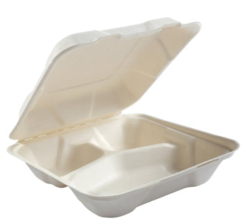 9X9X3 Three Compartment Bagasse Biodegradable  Hinged Container 200CT