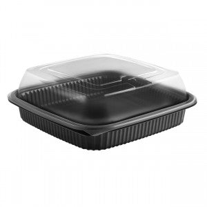 Anchor  Culinary Squares CDCS85321/CS85LHX1 Black 1-comp Base, Anti-fog MW High Dome Lid, Combo Pack