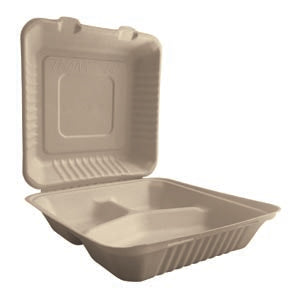 "9""x9""x3"" Eco Biodegradable Compostable Bamboo 3 Comp Hinged Containers 200CT"