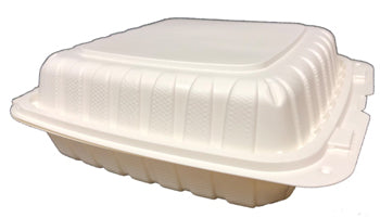 "9"" X 9"" X 2.75"" PLASTIC POLYPROPYLENE HINGED CONTAINER 3 COMP-150CT"