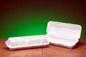 "X-LARGE HOAGIE FOAM HINGED LID GENPACK 12-3/16"" X 4-15/32"" X 3-1/8"" WHITE 200CT"