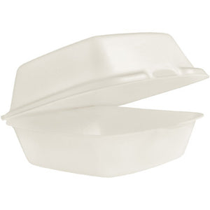 "LARGE SANDWICH FOAM HINGED LID GENPACK 22500 5-5/8"" X 5-3/4"" X 3-1/4"" WHITE 500CT"