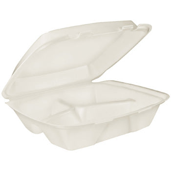 "MEDIUM 3 COMP FOAM HINGED LID GENPACK SN-243 8"" X 8"" X 3"" WHITE 200CT"