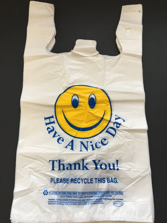 12X7X21 SMILE FACE PLASTIC  BAGS 1/6 14 MIC 500CT
