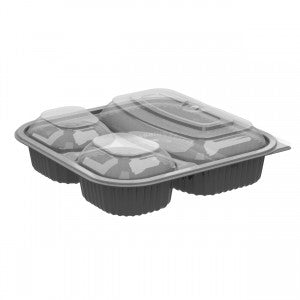 Anchor Culinary Squares CDCS85323 Black 3-comp Base, 3-comp Anti-fog MW Lid, Combo Pack