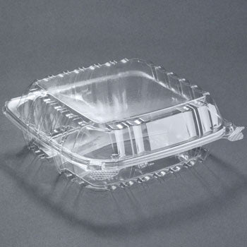 "DART 3 COMPARTMENT  C90PST3 8 5/16"" x 8 5/16"" x 3"" CLEAR HINGED PLASTIC CONTAINER  250CT"