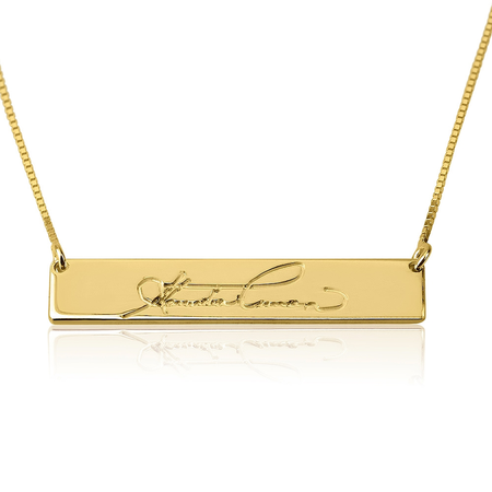 Personalize Bar Handwriting Necklace