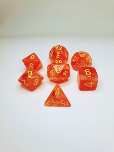 CHESSEX GHOSTLY GLOW ORANGE/YELLOW POLYHEDRAL 7 DIE SET