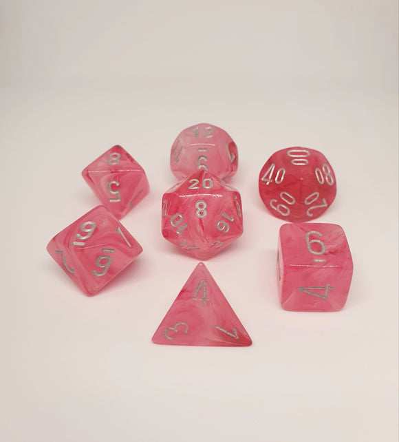 CHESSEX GHOSTLY GLOW PINK/SILVER POLYHEDRAL 7 DIE SET