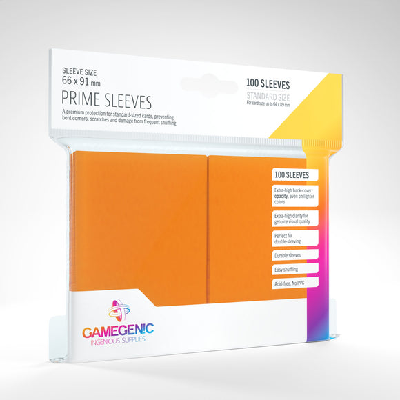 GAMEGENIC PRIME SLEEVES 100 PACK ORANGE
