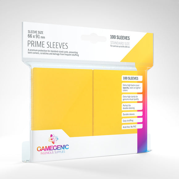 GAMEGENIC PRIME SLEEVES 100 PACK YELLOW