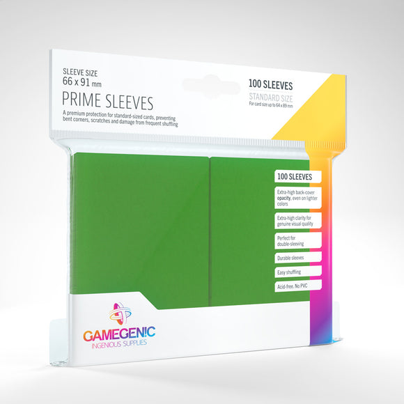 GAMEGENIC PRIME SLEEVES 100 PACK GREEN