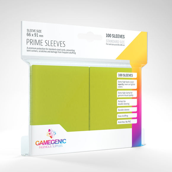 GAMEGENIC PRIME SLEEVES 100 PACK LIME