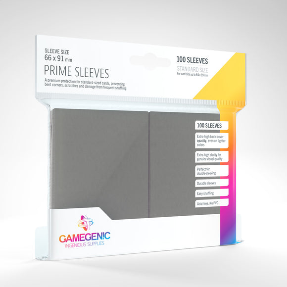 GAMEGENIC PRIME SLEEVES 100 PACK GRAY