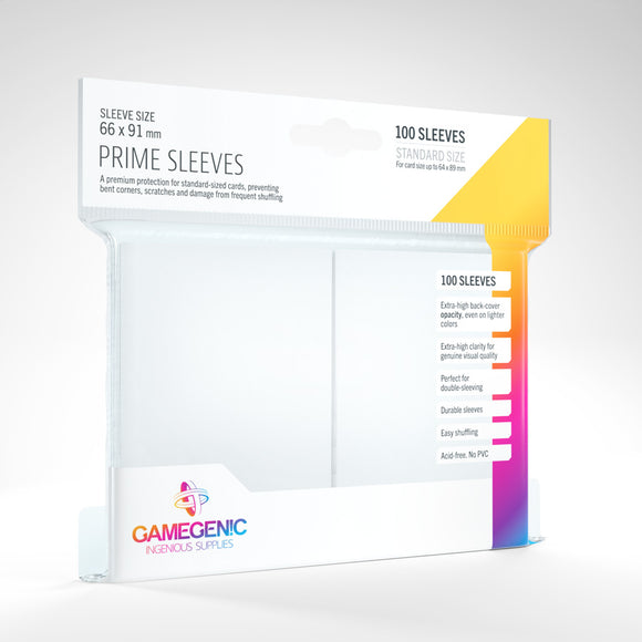 GAMEGENIC PRIME SLEEVES 100 PACK WHITE