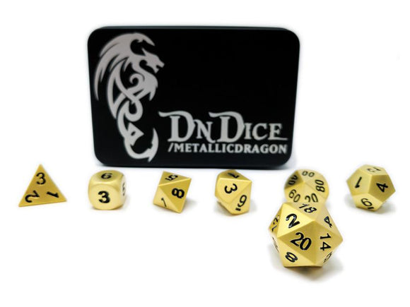 DNDICE BRILLIANT GOLD METALLIC DRAGON DICE SET