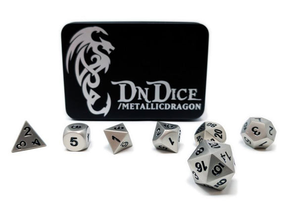 DNDICE BRILLIANT SILVER METALLIC DRAGON DICE SET