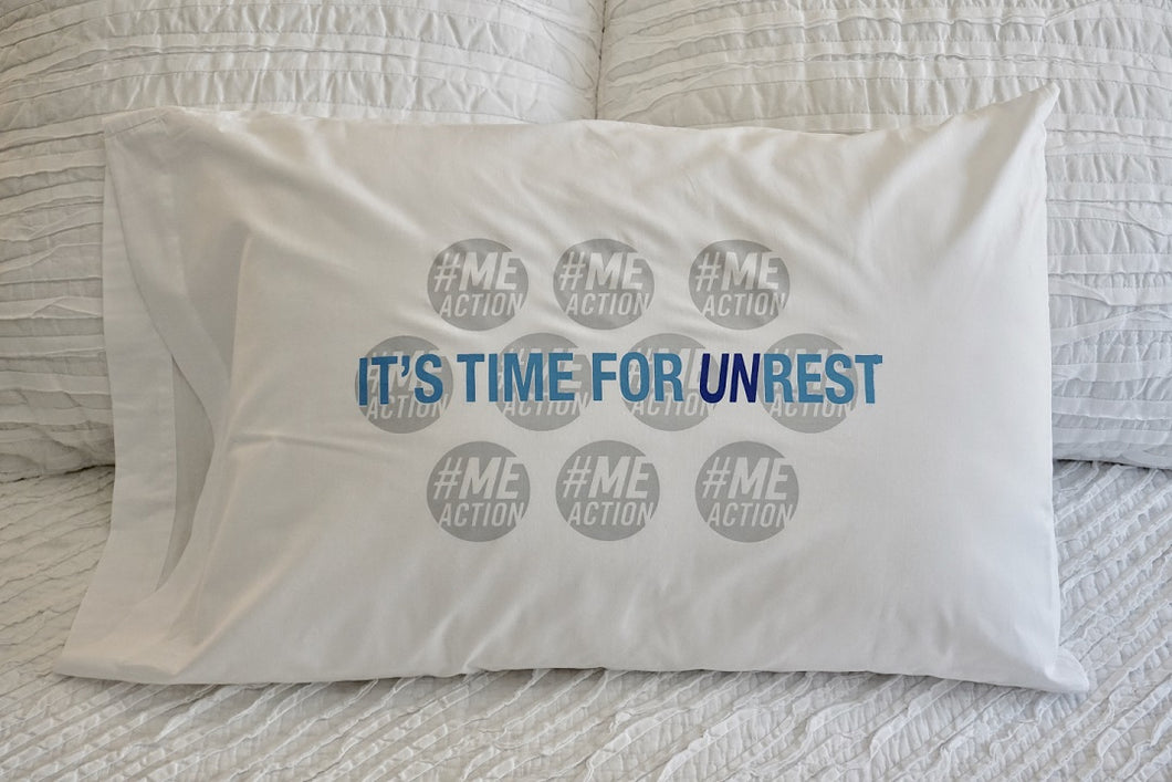 White pillowcase with a white background. The pillowcase says